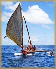 Yap traditional navigation canoe sailing