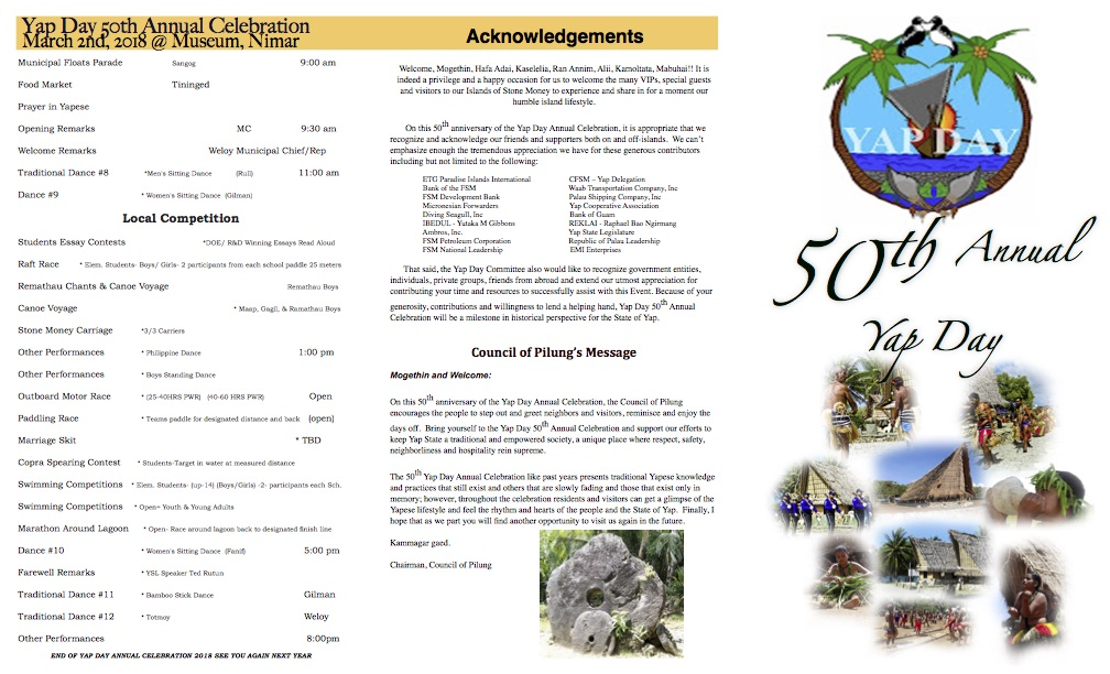 DOWNLOAD the Yap Day 2018 Program - Click Here